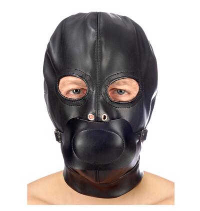 Fetish tentation Hood in leatherette with removable gag - maska bdsm