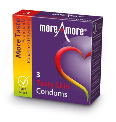 MoreAmore Condom Tasty Skin 3 szt - Prezerwatywy smakowe