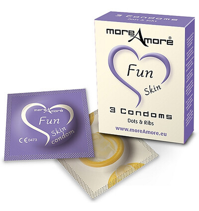 MoreAmore Condom Fun Skin 3 szt - Prezerwatywy z wypustkami