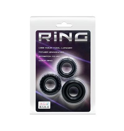 Baile Three Cock Rings Sets - zestaw elastycznych pierścieni erekcyjnych