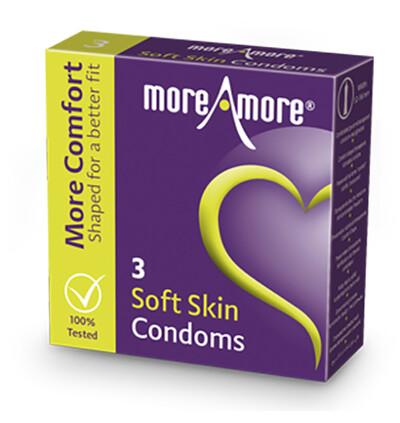 MoreAmore Condom Soft Skin 3 szt - Prezerwatywy o ułatwionym zakładaniu