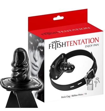 Fetish tentation Penis Gag T1 - knebel z penisem do ust na kłódkę