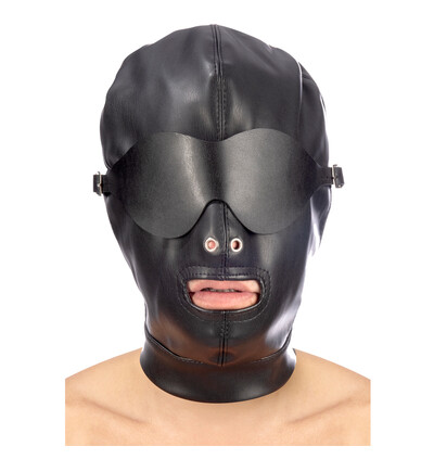 Fetish tentation Hood in leatherette with removable mask - maska bdsm