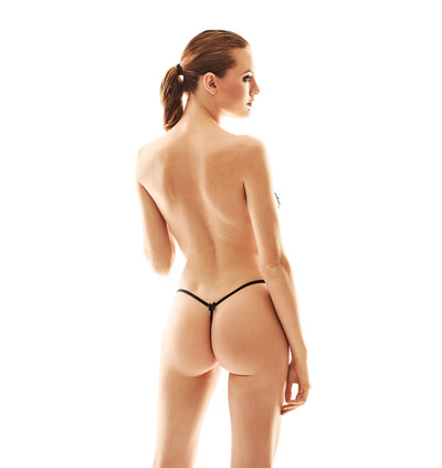 Anais Pollie - czarne otwarte stringi