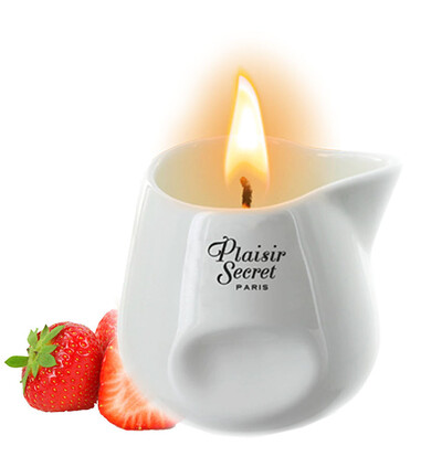 Plaisir secrets Bougie Candle STRAWBERRY - Świeca do masażu, zapach truskawek