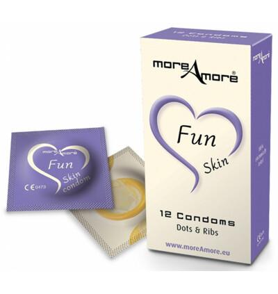 MoreAmore Condom Fun Skin 12 szt - Prezerwatywy z wypustkami