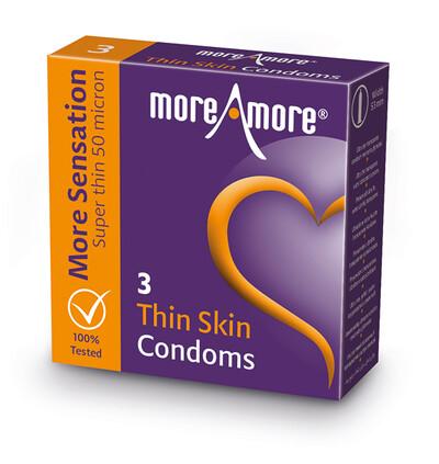MoreAmore Condom Thin Skin 3 szt - Ultracienkie prezerwatywy