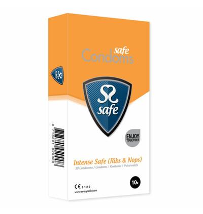 Safe IntenseSafe Condoms Rib Nop 10 szt - Prezerwatywy z wypustkami