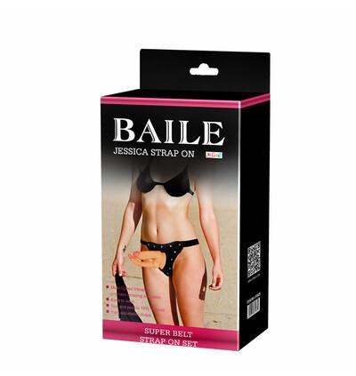 Baile Jessica Double Strap On Vibrating - podwójne wibrujące dildo strap on