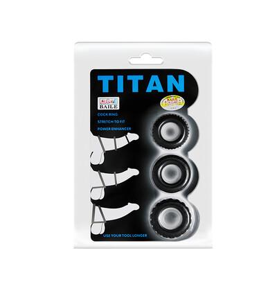 Baile Titan Three Rings - zestaw elastycznych pierścieni erekcyjnych