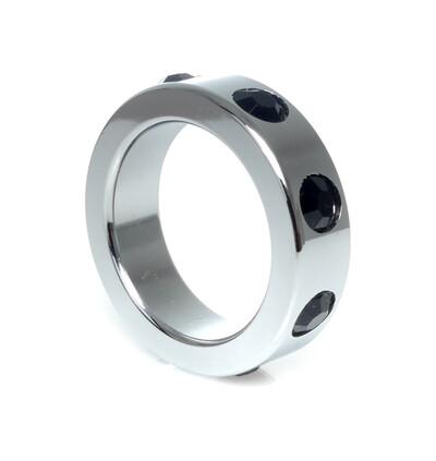 Boss Series Metal Ring Black Diamonds M - Metalowy pierścień erekcyjny