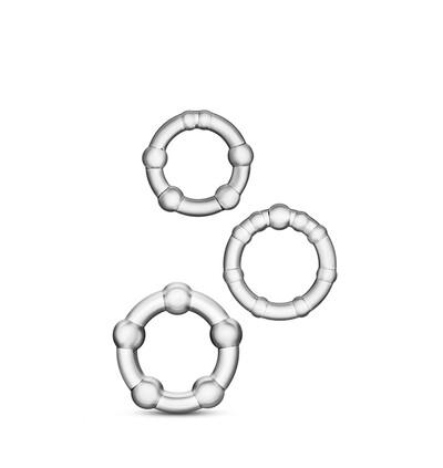 Blush Stay Hard Beaded Cockrings Clear - Zestaw 3 elastycznych pierścieni erekcyjnych