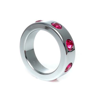 Boss Series Metal Ring Pink Diamonds M - Metalowy pierścień erekcyjny