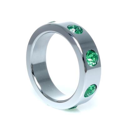 Boss Series Metal Ring Green Diamonds L - Metalowy pierścień erekcyjny