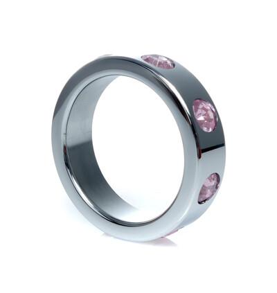 Boss Series Metal Ring Rose Diamonds L - Metalowy pierścień erekcyjny