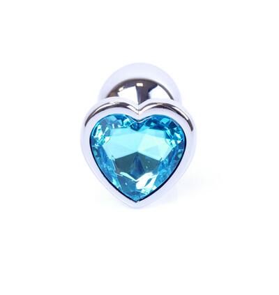 Boss Series Jewellery Silver Heart Light Blue - Korek analny, błękitny