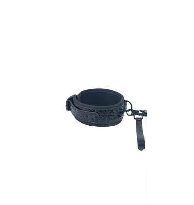 Btb Fetish Collar With Leash - obroża ze smyczą, czarna