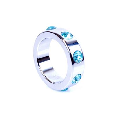 Boss Series Metal Cock Ring With Light Blue Diamonds Medium - metalowy pierścień erekcyjny, zdobiony