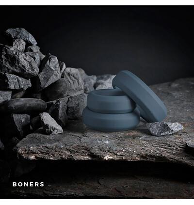 Boners 3 Ring Kit (Flat Rings) - Zestaw elastycznych pierścieni erekcyjnych