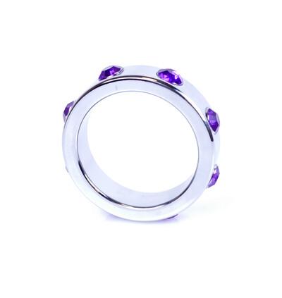 Boss Series Metal Cock Ring With Purple Diamonds Large - metalowy pierścień erekcyjny, zdobiony