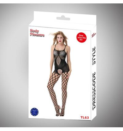 Body Pleasure Black Tl63 - bodystocking, czarny