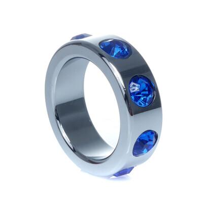 Boss Series Metal Ring Dark Blue Diamonds S - Metalowy pierścień erekcyjny