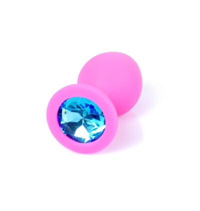 Boss Series Jewellery Pink Silikon Plug Medium Light Blue Diamond - Korek analny, różowy