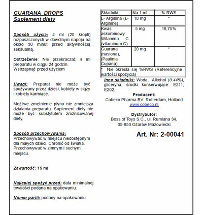 Cobeco Guarana Drops 30Ml - Krople guarany na wzmocnienie libido