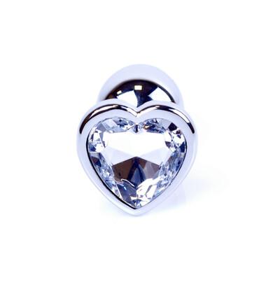 Boss Series Jewellery Silver Heart Clear - Korek analny, przezroczysty
