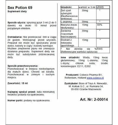 Cobeco Sex Potion 69 - Spray wzmacniający libido