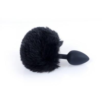 Boss Series Jewellery Silikon Plug Bunny Tail Black - Korek analny z ogonkiem, czarny