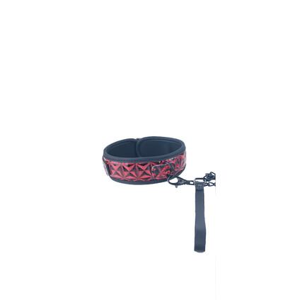 Btb Fetish Collar With Leash - obroża ze smyczą, czerwona