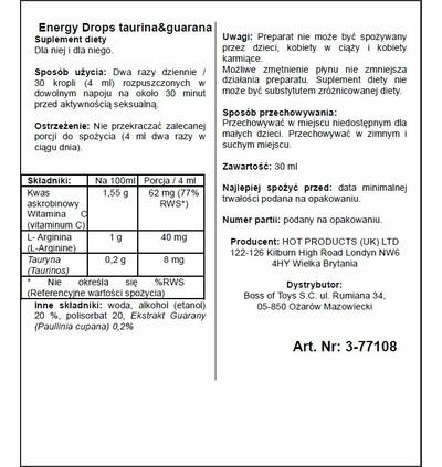 HOT Energy Drops-30Ml Taurin & Guarana(M+W) - środek zwiększający libido