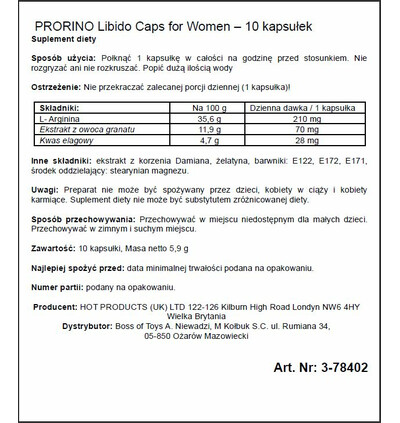 HOT Prorino Women Black Line Libido Caps 10 szt - środek zwiększający libido