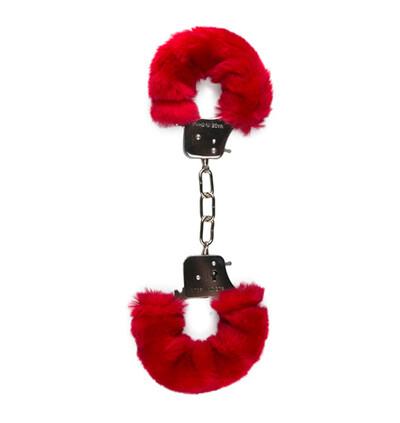 Easy Toys Furry Handcuffs Red - Kajdanki z futerkiem, czerwone