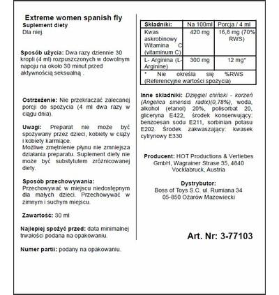 HOT Spain Fly Extreme Women- 30Ml - środek zwiększający libido