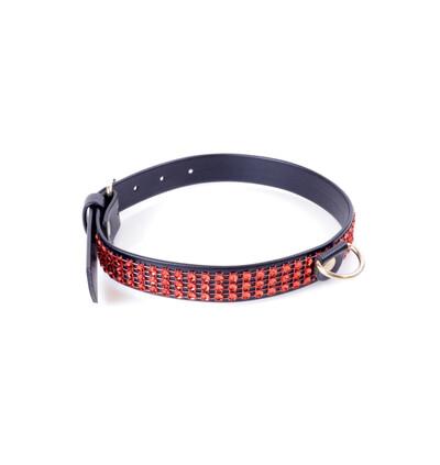 Fetish Fantasy Collar With Crystals 2 Cm Red Line - Obroża na szyje, czerwono - czarna