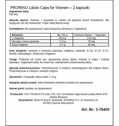 HOT Prorino Women Black Line Libido Caps 2 szt - środek zwiększający libido