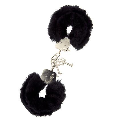 Dream Toys Metal Handcuff With Plush Black - Kajdanki z futerkiem, czarne