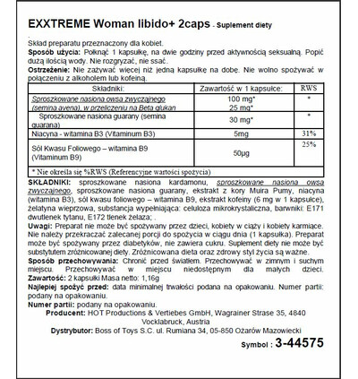 HOT Exxtreme Libido Caps Woman 2 szt - Kapsułki na libido