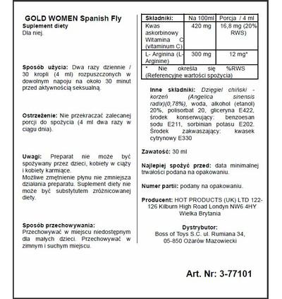 HOT Spain Fly Women- Gold Strong- 30Ml - środek zwiększający libido