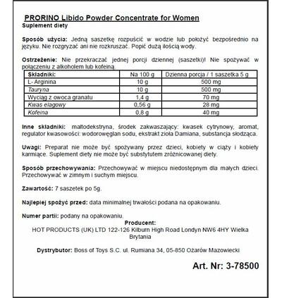 HOT Ero Prorino Black Line Libido Powder Concentrate - środek zwiększający libido w saszetkach, 7szt