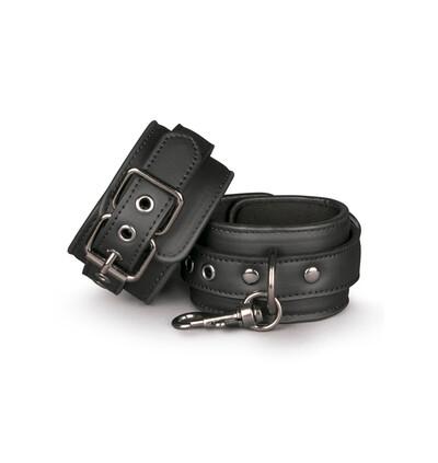 Easy Toys Black Leather Handcuffs - Kajdanki