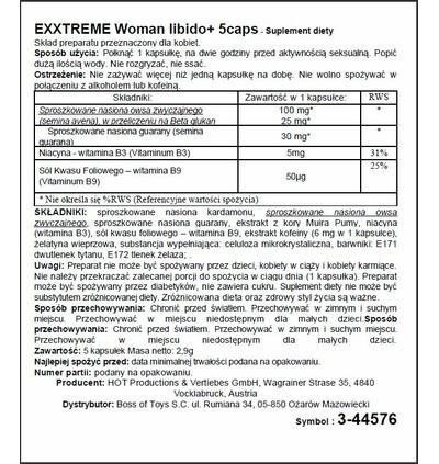 HOT Exxtreme Libido Caps Woman 5 szt - Kapsułki na libido