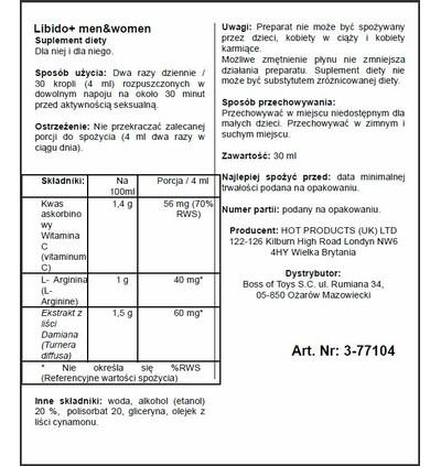 HOT Libido + (M+W) 30Ml - środek zwiększający libido