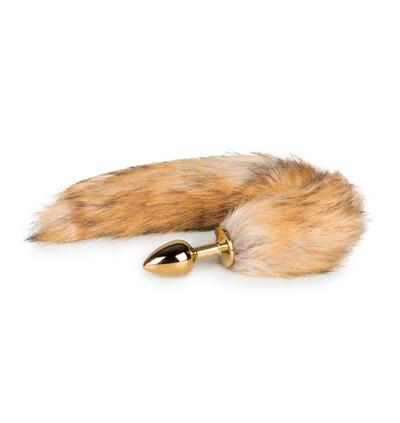 Easy Toys Fox tail 06 gold - Korek analny z ogonkiem, Jasnobrązowy