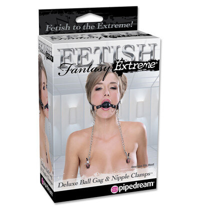 Fetish Fantasy Extreme Deluxe Ball Gag & Nipple - Zaciski na sutki z kneblem