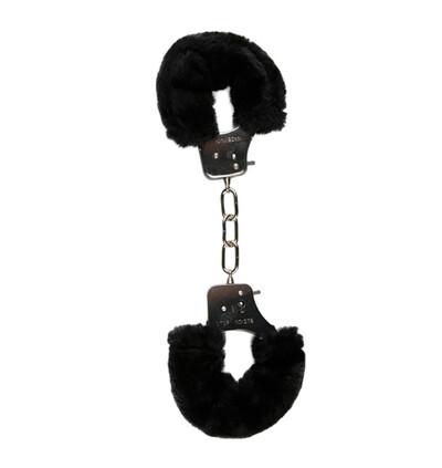 Easy Toys Furry Handcuffs Black - Kajdanki z futerkiem, czarne