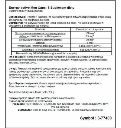 HOT Men Energy 5 Caps - Kapsułki witalizujące dla mężczyzn