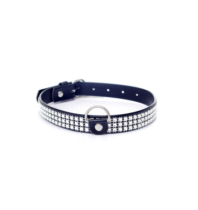 Fetish Fantasy Collar With Crystals 2 Cm Silver - Obroża na szyję srebrno-czarna